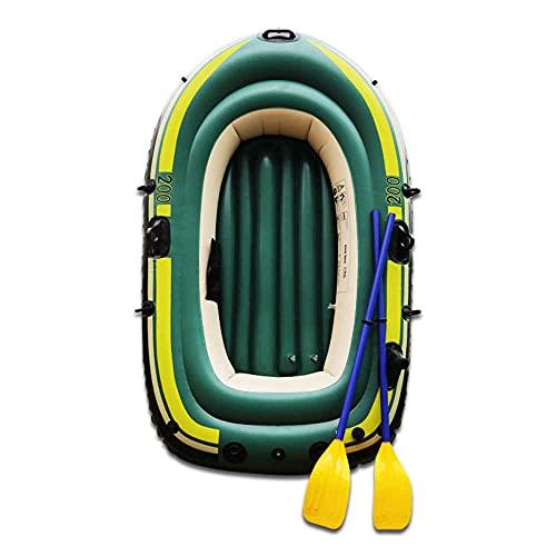 Nflatable Kayak Botes, Adultos y Niños con Válvula Doble, PVC Kayak Barco Pesca Bote Inflable Bote Inflable Engrosado (1/2 Persona),Green-220 * 120cm