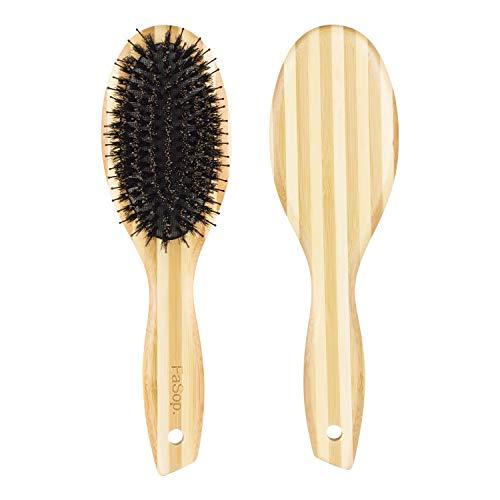 Antistatische Wildschweinborsten Haarbürste, FaSop. Professionelle Zebra Bambus Entwirrungsbürste für alle Haartypen zu Pflegung und Styling, geeignet für Frauen, Männer und Kinder