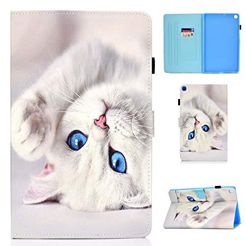 Aswant Hülle für Samsung Tab A7,Galaxy Tab A7 PU Leder Schutzhülle Brieftasche Flip Hülle Auto Schlaf/Wach Function Tablet Hülle für Samsung Galaxy Tab A 10.4 Zoll 2020 SM-T500/SM-T505 Weiße Katze