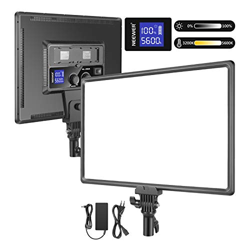 Neewer Super Fino LED Video Luz Iluminación Suave 40W 3200K-5600K CRI95 + Panel LED Regulable con Pantalla LCD Cámara Luz Fotográfica Compatible con Batería Sony NP-F Series (Batería No Incluida)
