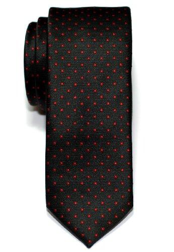 Retreez Herren Schmale Gewebte Krawatte Kleinen Punkten 5 cm - schwarz mit rot punkten