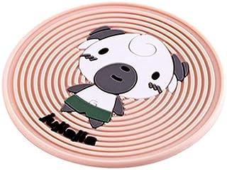 漫画のアニマル柄PVCコースターノンスリップ厚みの断熱パッドラウンドプレースマットテーブル装飾品 (色 : Dog)