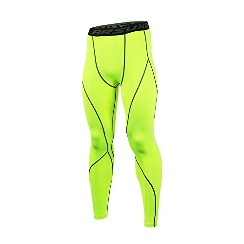 ARSUXEO Men's Compression Tights Running Pants Baselayer Legging K3 Green Size Large