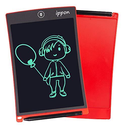 IPPON LCD Schreibtafel 8,5 Zoll, Handschrift Notizblock, Zeichnung Boards Schreibtafel für Kinder & Erwachsene, Schreib und Skizzen Pad für Schule und Büro(Rot)