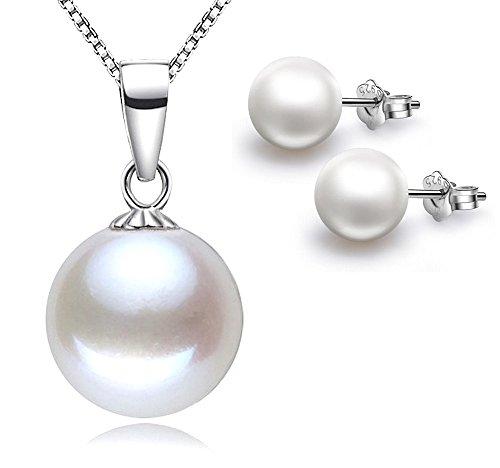 Kim Johanson Damen Perlen Schmuckset 'Fiona' aus 925 Sterling Silber Halskette mit Anhänger & Ohrringe inkl. Schmuckbeutel