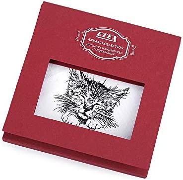 1pc White Cat Ladies Handkerchief Dog, Cat, Horse/Gift Box, Women Children Handkerchiefs, Fashion Accessories