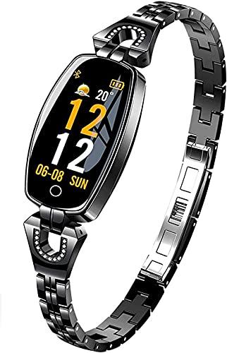 Rastreador de actividad para mujer Smartwatch impermeable con monitor de frecuencia cardíaca, vínculos inteligentes, pulsera de sueño, contador de calorías, negro