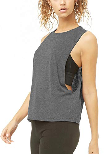 Mippo Womens Muscle Tank Flowy Summer Athletic Yoga Tank Tops for Women Sleeveless Exercise Fitness Shirts Drop Armhole Tank Cute Workout Shirts for Women Heather Gray L