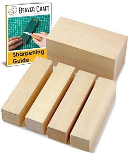 BeaverCraft Holzblöcke aus Lindenholz BW1 1 Stück - 10x5x5 cm 4 Stück – 2x2x10 cm Lindenholz zum...