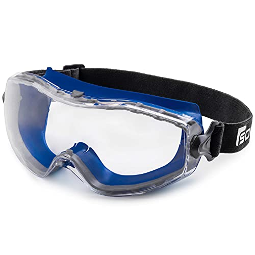 Solid. Safety Goggles that fit Perfectly | Protective Eyewear with Anti-Fog, Anti-Scratch and UV-Protective Lenses | Ideal Safety Glasses for wearing Over Prescription Glasses | Clear Lens | Dark Blue