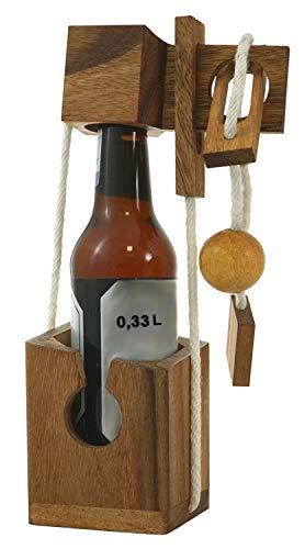 LOGOPLAY Mini Flaschen-Tresor extra für kleine Flaschen - Flaschen-Safe - Flaschen-Puzzle - Denkspiel - Knobelspiel - Geduldspiel - Logikspiel aus edlem Holz in kleinformatiger Ausführung