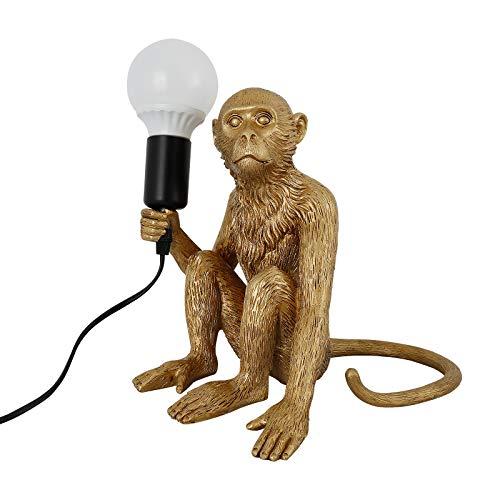 Moderne Led Monkey Lamp, Harz Tischlampe mit sitzendem Affen Design in Gold, per Café/Kinderzimmer/Schlafzimmer (40 W, E27)