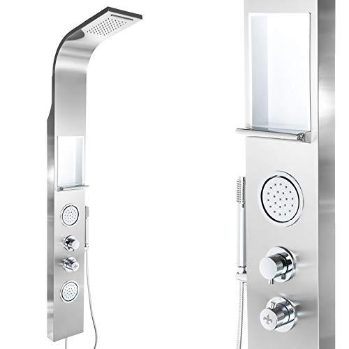 Edelstahl Premium Duschpaneel mit Ablage 160cm hoch Regendusche Duschsäule, mit Thermostat