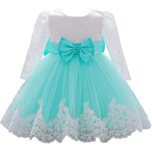 Baby Party Dress 6-12M Elegant Cute Formal Birthday Wedding Dress Tutu Lace Easter Dress for Toddler Girls Kids House Dress Green