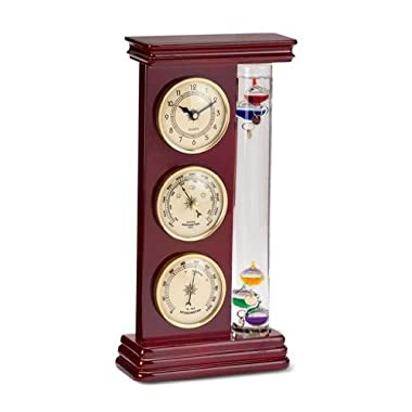 Ambient Weather YG710-6 Galileo Thermometer, Barometer, Hygrometer and Quartz Clock Weather Station