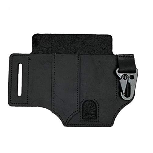 Leather Sheath Multitool Pocket Organizer Flashlight Pouch with Pen Holder Key Fob Black for Men