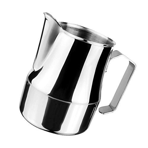 MagiDeal Milchkännchen, perfekt für Milchaufschäumer, aus Edelstahl, Milch aufschäumen, Milchkanne, Cafe Art, Milchschaum, Aufschäumkännchen - Silber, 750ml