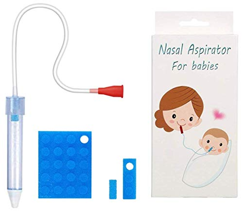 Baby Nasal Aspirator with 24 Hygiene Filters Snot Sucker for Newborns to Toddlers Mucus Aspirator for Baby NonToxic Mucus Extractor Cleanable and Reusable Nasal Congestion Relief for Infant