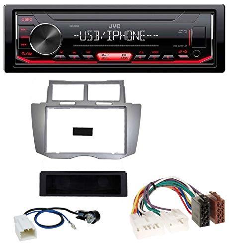caraudio24 JVC KD-X252 1DIN AUX USB MP3 Autoradio für Toyota Yaris (2007-2011)