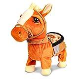 Juguete Interactivo de Peluche de Caballo - Robot electrónico para Caminar Animado para Mascotas Juguetes Caballo con Correa Pony para niños y niñas