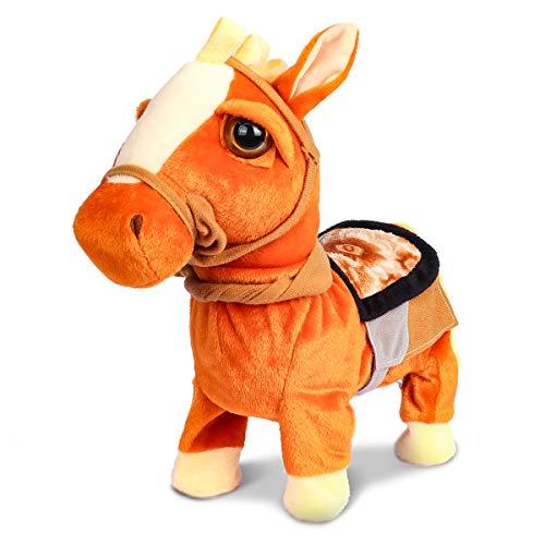 Smalody Juguete Interactivo de Peluche de Caballo Robot electrónico para Caminar Animado para Mascotas, Caballo con Pony de Lino para niños y niñas (marrón)