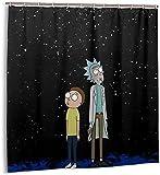 WFQTT Rick and Morty Duschvorhang Anime Merchandise für Badezimmer Maschinenwaschbare wasserdichte Stoff Duschvorhänge (180 x 180 cm)