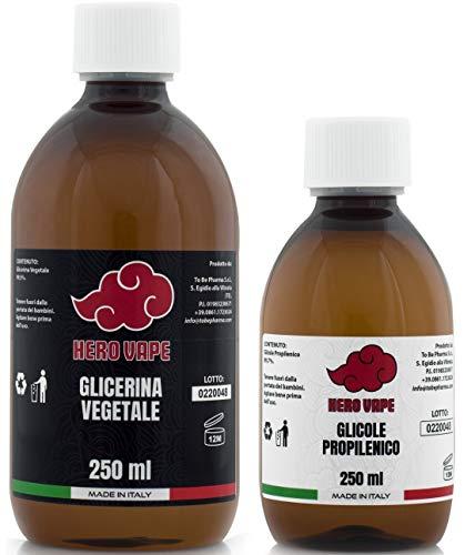 HERO VAPE Kit Base Neutra 500ml 50VG/50PG | Glicerina Vegetale + Glicole Propilenico di Elevata Purezza (>99,5%) | 100% Made in Italy | Purezza Certificata di Grado Farmaceutico EP/USP