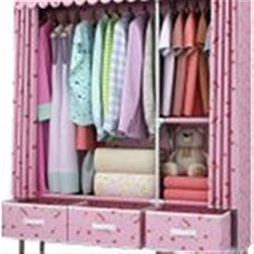 Garde-robe XINYALAMP Simple Armoire Chambre Double Tissu Simple Tissu Tube d acier Moderne Gras d assemblage renforcé Cadre en Acier Cadre en Acier 45x125x168cm (Color : Pink)