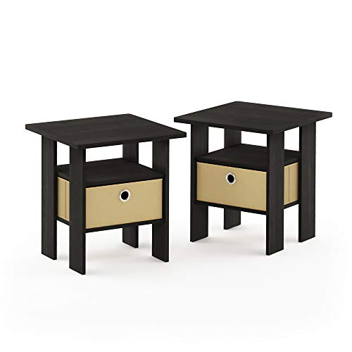 Furinno End Table Bedroom Night Stand, Petite, Espresso, Set of 2