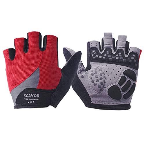 SCAVOR Gepolsterte fingerlose Mountainbiking-Handschuhe aus Netzstoff – für Männer, Frauen, Jungen mit Daumen, Halbfinger, ideal für Sport, Fahrrad, Angeln, Radfahren, Rollstuhl M new red