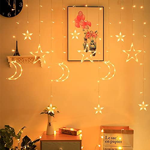 Luci per Tende con Stella Luna, Luci per Tende a Led per la Decorazione Della Festa di Natale, Catene Luminosa a Led per Camera da Letto, Giardino, Matrimoni, Interni Decorativo (Bianco)