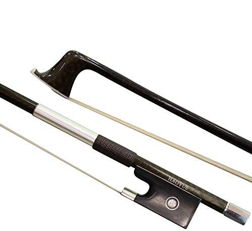 HAOYUE Violin Bow - Violin Bow 4/4 Full Size - Carbon Fiber Violin Bow - Handmade with Natural Mongolian Horse Hair (Brown)