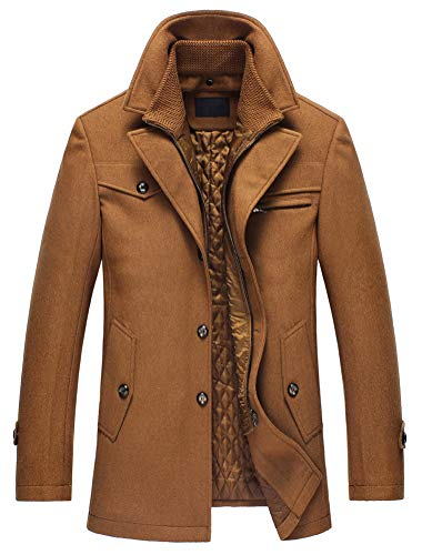 Lavnis Herren Warm Wollmantel Stehkragen Wintermantel Kurzmantel Winter Jacke Business Freizeit Style4 Camel M