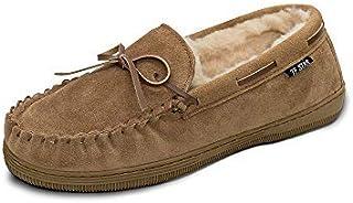 شباشب بدون كعب من الجلد المدبوغ الأصلي للرجال مصنوعة من فرو صناعي مبطنة، حذاء كلاسيكي مسطح بدون رباط داخلي خارجي أخفاف للرجال