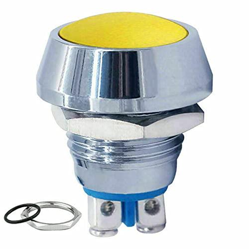 Mini pulsador plateado de claxon, tornillo de 2 pines, de acero inoxidable, cabeza plana, resistente al agua IP65, botón redondo temporal, botón ON/OFF 12 V – 250 V (amarillo)
