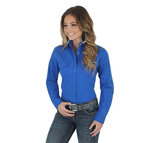 Wrangler Women's Western Yoke Two Snap Flap Pocket Shirt, Royal, XL