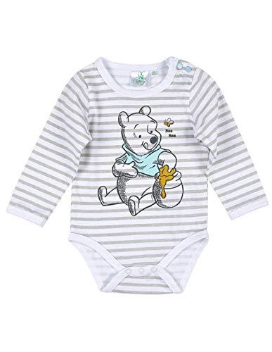 Winnie l'ourson Body Manches Longues bébé Rayé Blanc/Gris de 3 à 24mois - Blanc/Gris, 24 Mois