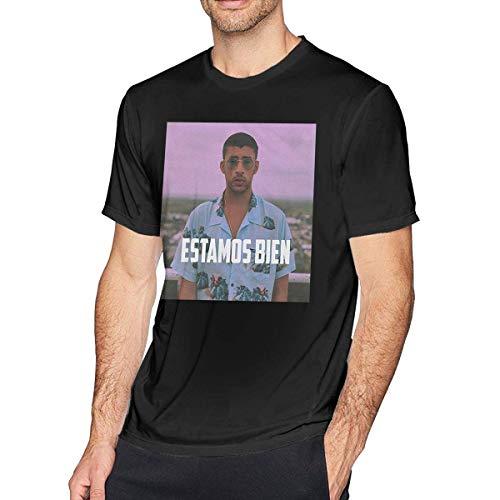 Pimkly Camisetas y Tops,Polos y Camisas Estamos Bien Bad Bunny Men's Short Sleeves Casual T-Shirt Black
