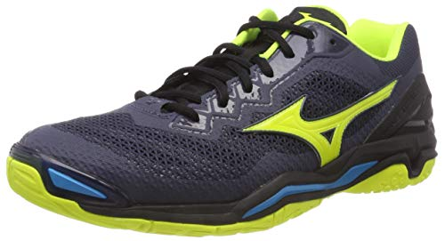 Mizuno Herren Wave Stealth V Sneakers, Mehrfarbig (Omblue/Syellow/Hocean 001), 44 EU