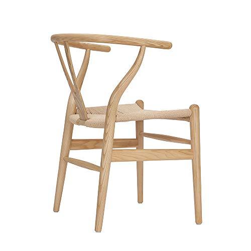 Tomile Wishbone Stuhl CH24 - Y-Stuhl - Massivholz Esszimmerstuhl - Rattan sessel - Esszimmerstuhl - Küchenstuhl - Speisezimmerstuhl