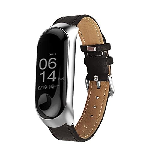 Colorido cuero negro rosa de oro caja de reloj inteligente para la banda MI 6 4 5 Correa para la banda MI 5 4 3 6 Correa de pulsera (Color : Black, Size : Miband4)