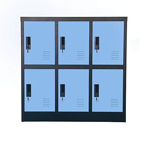 Kleiner Büroschrank für Mitarbeiter, Schulspind für Kinder, Mini-Größe (blau, W6D)