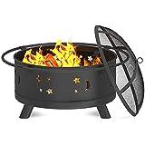 H-BEI Pozo de Fuego Redondo al Aire Libre, Pozo de Fuego de leña Grande con Pantalla de Chispa, Pozo de Fuego de Hierro Forjado para Fiestas, barbacoas, calefacción, Patio, jardín
