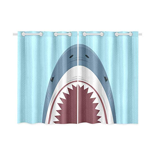 InterestPrint Blackout Window Curtains Shark Open Mouth Blue Room Bedroom Home Living Short Drapes Curtains 52X39 Inch