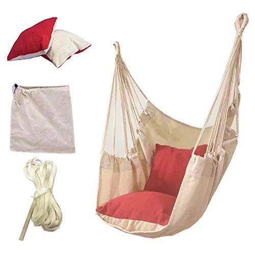 happygirr Hamaca colgante con 2 cojines, hamaca de cuerda, de algodón, para niños, adultos, residencia universitaria, patio, jardín, terraza y casa silla para colgar