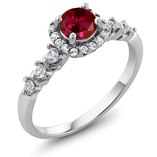 Gem Stone King 925 Sterling Silver Red Created Ruby and White Created Sapphire Women's Engagement Ring (1.02 Cttw Round) (Size 9)