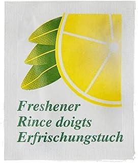 Lot de 50 lingettes rince doigt citron - Nettoyant main pour repas , fruit de mer , poisson et toute odeur - 15 x 13 cm