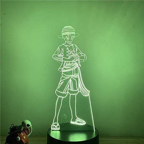 Lámpara de ilusión 3D Luz de noche LED Luffy de pie Muñeca de acción fresca Lámpara de mesa de ilusión óptica táctil de 7 colores Decoración del hogar Oficina en casa Restaurante Fiesta