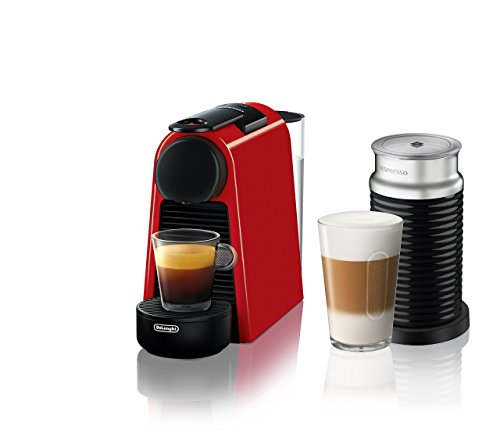 Nespresso Essenza Mini Original Espresso Machine with Aeroccino Milk Frother Bundle by De'Longhi, Red