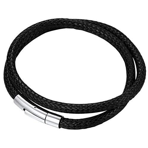 ChainsPro Braided Bracelet 20cm Black Rope Bracelet Mens Wrist Bracelets Leather